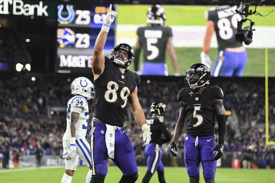 Baltimore Ravens tight end Mark Andrews (89) helped his team to a huge comeback win in Week 5. (AP Photo/Terrance Williams)