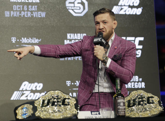 Conor McGregor always makes headlines when he gets on a microphone. (AP Photo)