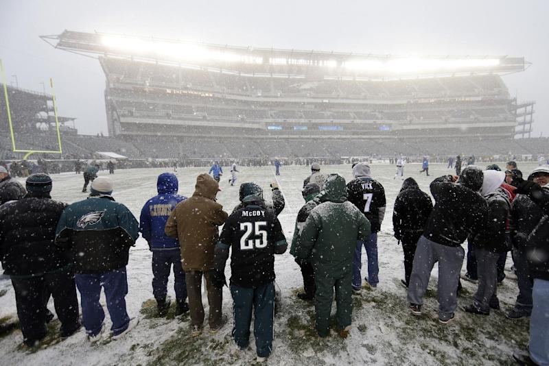 Fans stand in Lincoln Financial Field as snow falls before an NFL football game against the Detroit Lions, Sunday, Dec. 8, 2013, in Philadelphia. (AP Photo/Matt Rourke)