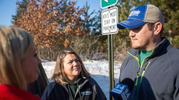 PHOTO: Peter and Kristin Kasinkas speak to the press on Jan. 11, 2019 in Gordon, Wis., one day after missing teenager Jayme Closs escaped captivity. (Kerem Yucel/AFP/Getty Images)