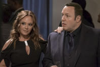 """<p><em>King of Queens</em> fans were in their glory when Kevin James reunited with his former TV wife, Leah Remini, for a two-parter at the end of the first season of <em>Kevin Can Wait</em>. The reunion of the <em>King of Queens</em> couple even came with a cutesy title: """"The Sting of Queens."""" At the time, no one knew Remini would become a <em>Kevin Can Wait</em> series regular (RIP, Donna), but it was clear that even after a 10-year separation, the chemistry between this comedy king and queen was still there. —<em>VM</em><br>(Photo: Jeff Neumann/CBS) </p>"""