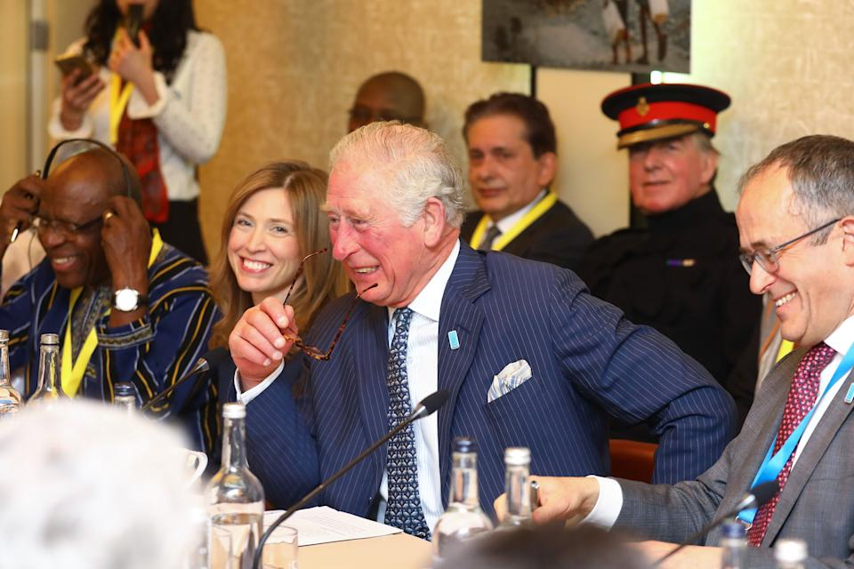 LONDON, ENGLAND - MARCH 10: Prince Charles, Prince of Wales and Tim Wainwright, WaterAid attend the WaterAid water and climate event at Kings Place on March 10, 2020 in London, England.  The Prince of Wales has been President of WaterAid since 1991. (Photo by Tim P. Whitby - WPA Pool/Getty Images)