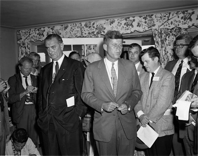 <p>Sens. Lyndon Baines Johnson, left, and John F. Kennedy address journalists at a joint press conference from the Kennedy home, July 30, 1960, in Hyannis Port, Mass. (Photo: Fay Foto Service/John F. Kennedy Presidential Library and Museum) </p>