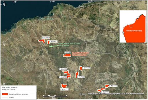 Macarthur Minerals Further Expands Lithium Projects to Over 1,000 Square Kilometres