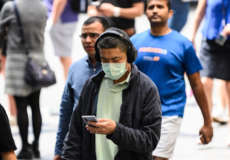 A man wearing a protective face mask seen in Sydney.