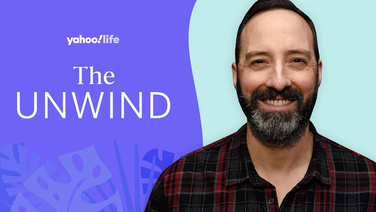 Tony Hale talks faith, anxiety and the importance of health. (Photo: Getty; designed by Quinn Lemmers)
