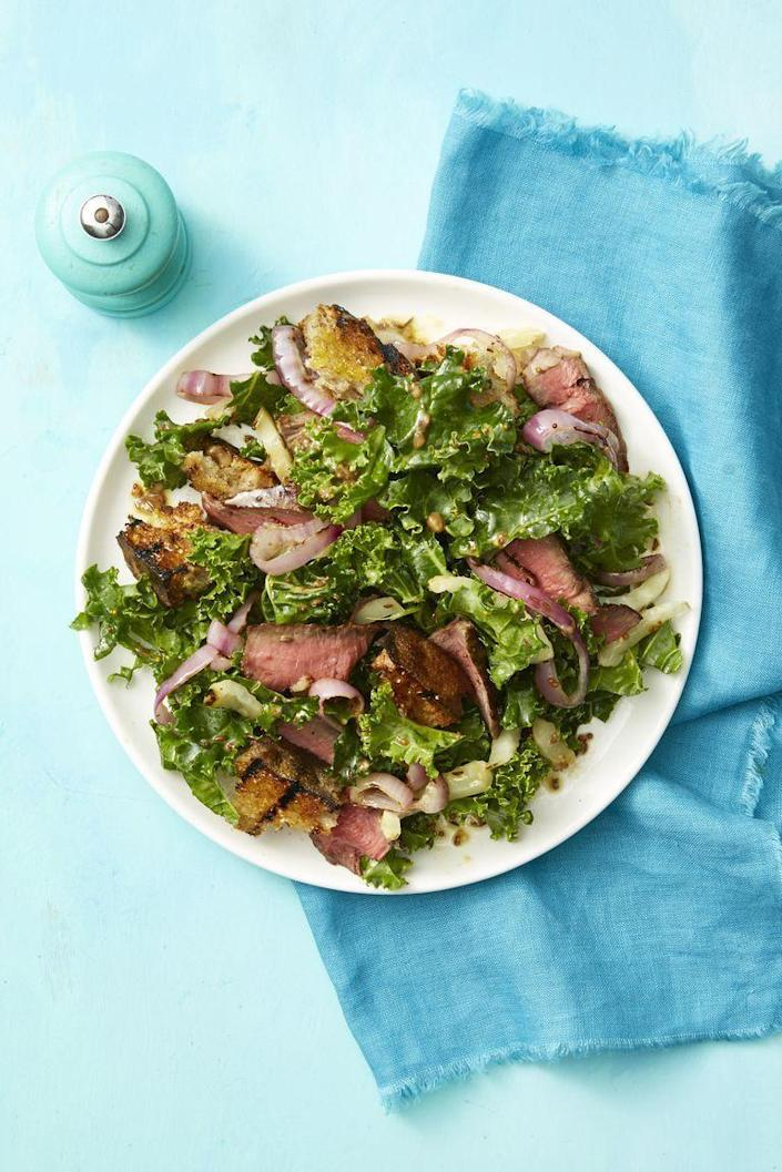 "<p>This salad has a fun crunch with some fresh onions and stays hearty with delicious slices of steak. </p><p><em><a href=""https://www.womansday.com/food-recipes/food-drinks/a21052947/steak-and-rye-panzanella-recipe/"" rel=""nofollow noopener"" target=""_blank"" data-ylk=""slk:Get the Steak and Rye Panzanella recipe."" class=""link rapid-noclick-resp"">Get the Steak and Rye Panzanella recipe. </a></em></p>"