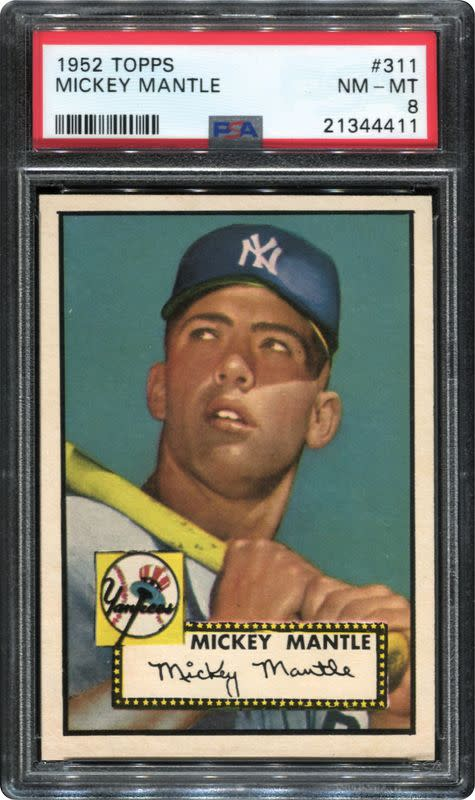 A 1952 Topps Mickey Mantle card from the collection of Dr. Thomas Newman