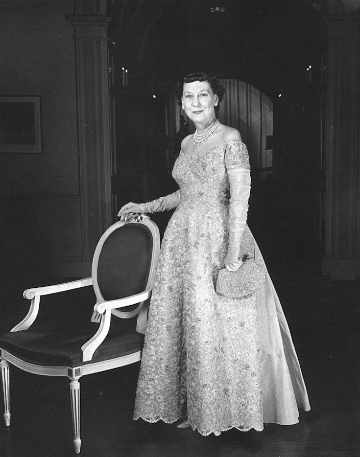 Mamie Eisenhower poses in the gown she wore to her husband's second inauguration.