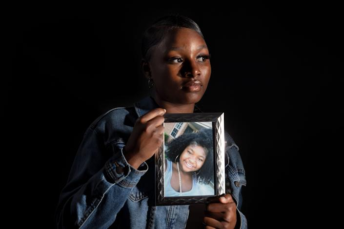 Ja'Niah Bryant, 15, poses for a portrait on Monday, May 17, 2021, in Columbus, Ohio. Ja'Niah's older sister, 16-year-old Ma'Khia Bryant, was shot and killed by a Columbus Police officer in April during a dispute at their foster home.