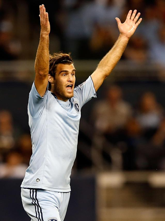 KANSAS CITY, KS - OCTOBER 24: Graham Zusi #8 of Sporting KC reacts during the MLS game against the Philadelphia Union at Livestrong Sporting Park on October 24, 2012 in Kansas City, Kansas. (Photo by Jamie Squire/Getty Images)