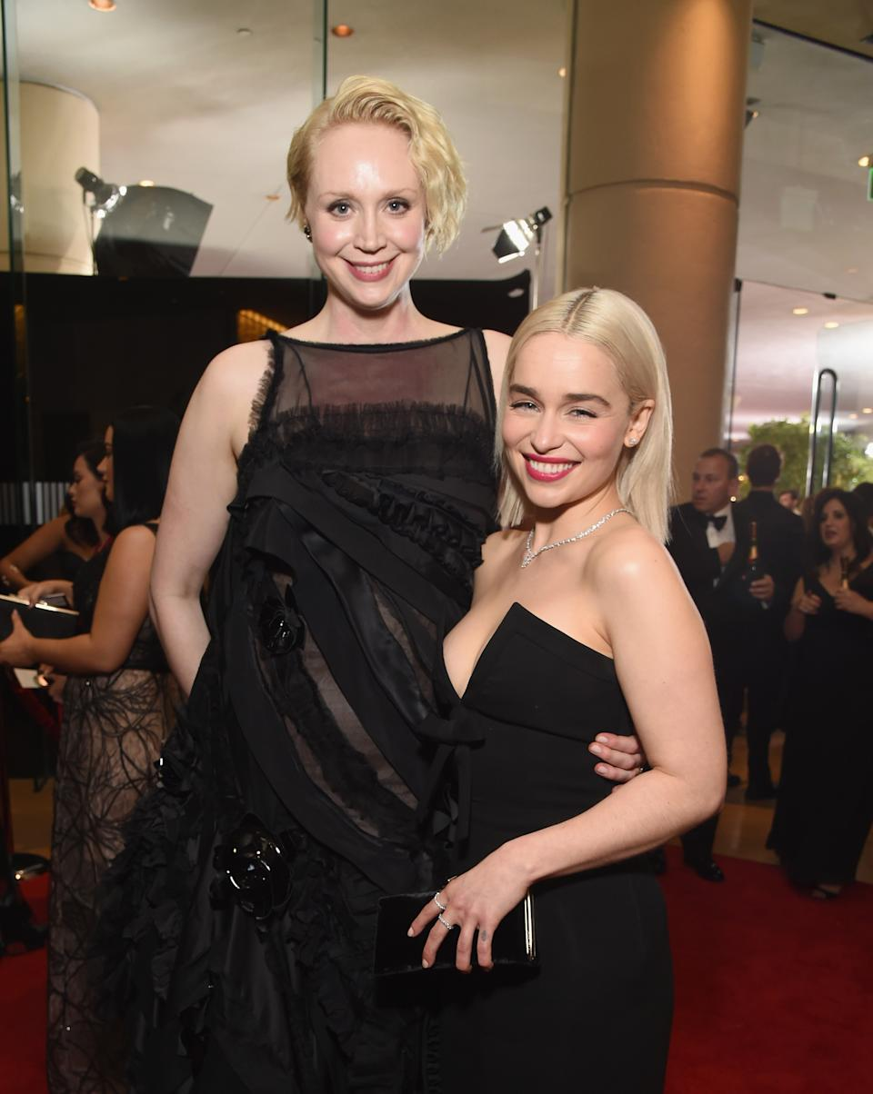 BEVERLY HILLS, CA - JANUARY 07: Actors Gwendoline Christie (L) and Emilia Clarke celebrate The 75th Annual Golden Globe Awards with Moet & Chandon at The Beverly Hilton Hotel on January 7, 2018 in Beverly Hills, California.  (Photo by Michael Kovac/Getty Images for Moet & Chandon)