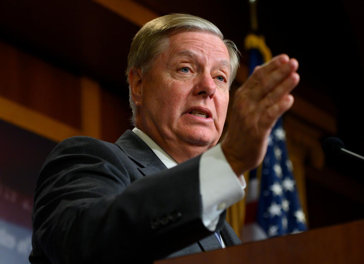 Sen. Lindsey Graham, R-S.C., speaks during a press conference on impeachment in Washington, D.C., Oct. 24, 2019. (Photo by Andrew Caballero-Reynolds/AFP via Getty Images)