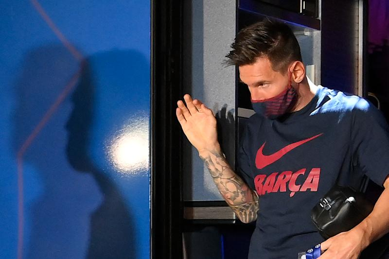 Barcelona's Argentinian forward Lionel Messi arrives at the team's hotel after being defeated during the UEFA Champions League quarter-final football match against Bayern Munich at the Luz stadium in Lisbon on August 14, 2020. (Photo by LLUIS GENE / AFP) (Photo by LLUIS GENE/AFP via Getty Images)