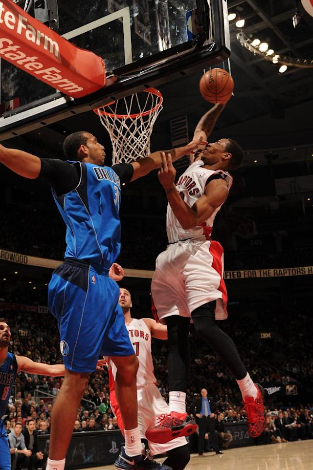 TORONTO, CANADA - January 22: DeMar DeRozan #10 of the Toronto Raptors going up for a dunk during a game against the Dallas Mavericks on January 22, 2014 at the Air Canada Centre in Toronto, Ontario, Canada. (Photo by Ron Turenne/NBAE via Getty Images)