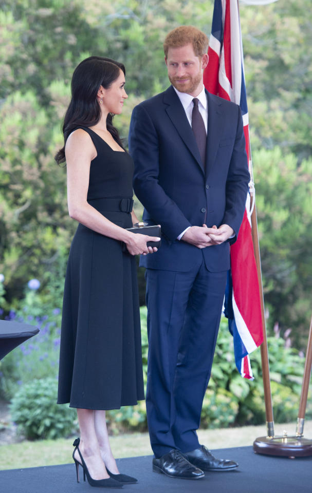 <p>The Duke and Duchess exchange a loving glance at a reception at Glencairn, the residence of Robin Barnett, the British Ambassador to Ireland. Photo: Getty </p>
