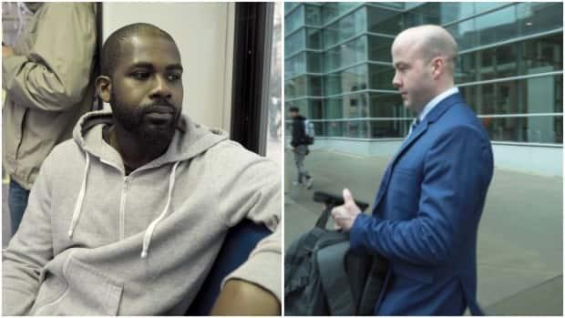 GodfredAddai-Nyamekye, left, was brutally beaten by Calgary police constable Trevor Lindsay, right, less than two years before Lindsay assaulted another handcuffed man, Daniel Haworth. Addai-Nyamekye testified at Lindsay's sentencing hearing.  (Lost Time Media - image credit)