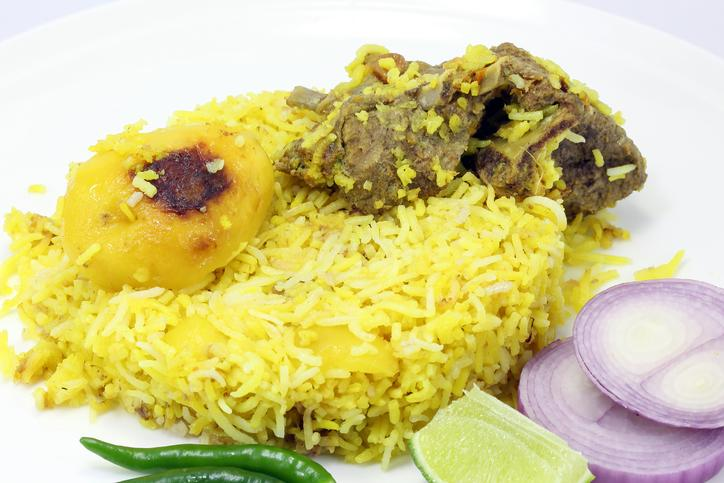 <p>The Nawabs of Lucknow were exiled in Kolkata after the 1857 Sepoy Mutiny. In days the of exile meat was scarce, so the Nawabs cooks added potatoes to the biryani. That is why, the present day Kolkata biryani contains potatoes along with meat. </p>