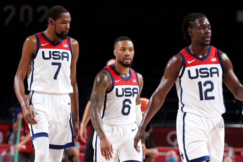 (Left to right) Kevin Durant, Damian Lillard, Jrue Holiday and Team USA are on the verge of winning yet another gold medal, despite how they've been perceived these Olympics. (Photo by Gregory Shamus/Getty Images)