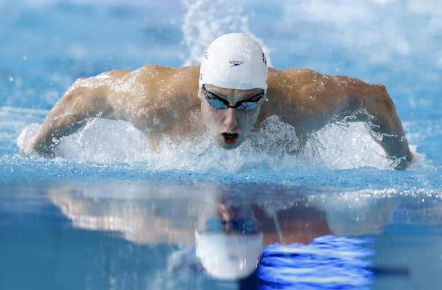 Daniel Wallace of Scotland competes in the Men's 400m Individual Medley final at the Tollcross International Swimming Centre during the Commonwealth Games 2014 in Glasgow, Scotland, Friday July 25, 2014. (AP Photo/Kirsty Wigglesworth)