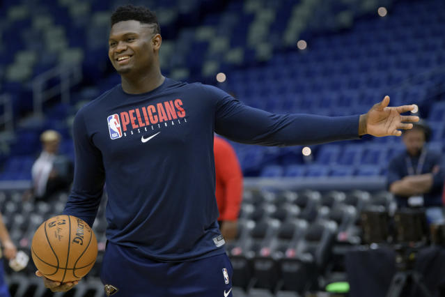 Pelicans forward Zion Williamson works out Saturday in New Orleans. (AP Photo/Matthew Hinton)