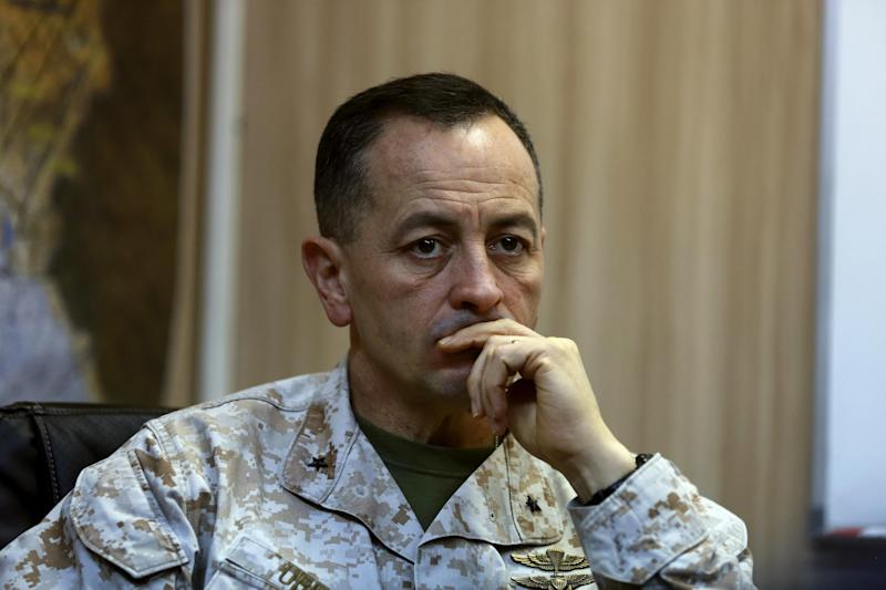 Brig. Gen. Rick Uribe listens during an interview with The Associated Press in Irbil, 217 miles (350 kilometers) north of Baghdad, Iraq, Sunday, Jan. 1, 2017. In the interview Uribe, a senior U.S. military commander in Iraq, expressed confidence in Iraqi forces fighting to recapture the northern city of Mosul from Islamic State militants. Uribe said he agrees with the forecast given by Iraqi Prime Minister Haider al-Abadi that it would take another three months to liberate Mosul, the last Iraqi urban center still in the hands of the extremist group. (AP Photo/Khalid Mohammed)