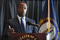 Kentucky Attorney General Daniel Cameron addresses the media following the return of a grand jury investigation into the death of Breonna Taylor, in Frankfort, Ky., Wednesday, Sept. 23, 2020. Of the three Louisville Metro police officers being investigated, one was indicted. (AP Photo/Timothy D. Easley)