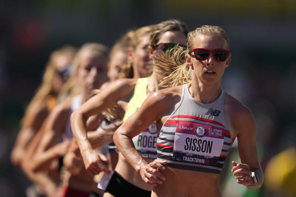 Emily Sisson competes in the women's 10000-meter run at the U.S. Olympic Track and Field Trials Saturday, June 26, 2021, in Eugene, Ore. (AP Photo/Charlie Riedel)