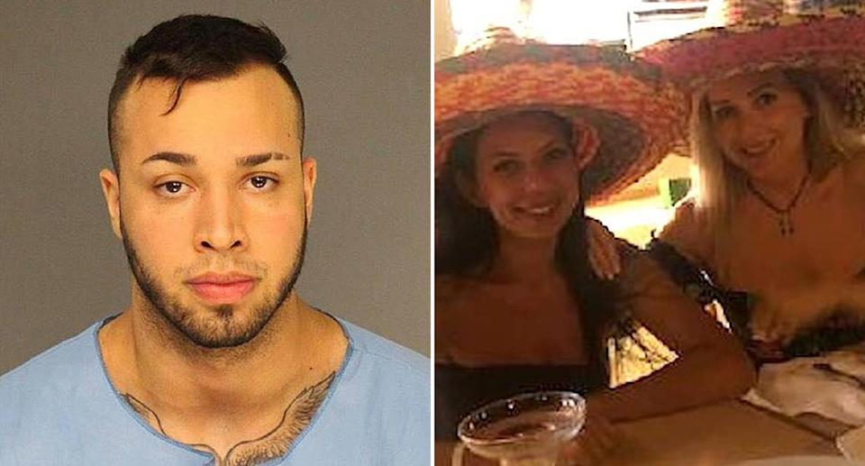 Left is a mugshot of John Menendez. Pictured on the right are Luiza Shinkarevskaya and Anna Shpilberg wearing hats.