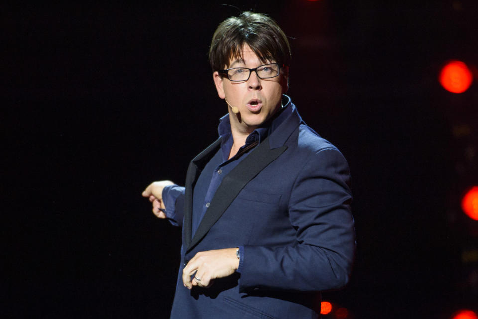 Michael McIntyre performing on stage at the Royal Albert Hall in London for the Teenage Cancer Trust annual concert series. Picture date: Wednesday March 29th, 2017. Photo credit should read: Matt Crossick/ EMPICS Entertainment.