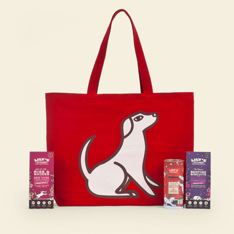 """<p>A Christmas themed treat bag full of wholesome, natural treats for dogs, including: bed time biscuits with chamomile to help them sleep on Christmas eve, 'Rise and Shines' for energy on the big day and turkey treats for lunch.<br></p><p>£12 <a href=""""http://www.lilyskitchen.co.uk/products/christmas/christmas-shop-for-dogs/item/christmas-treat-gift-bag-for-dogs?gclid=CP24m8bHoNACFYccGwodsbcDJQ"""" rel=""""nofollow noopener"""" target=""""_blank"""" data-ylk=""""slk:Lily's Kitchen"""" class=""""link rapid-noclick-resp"""">Lily's Kitchen</a></p>"""