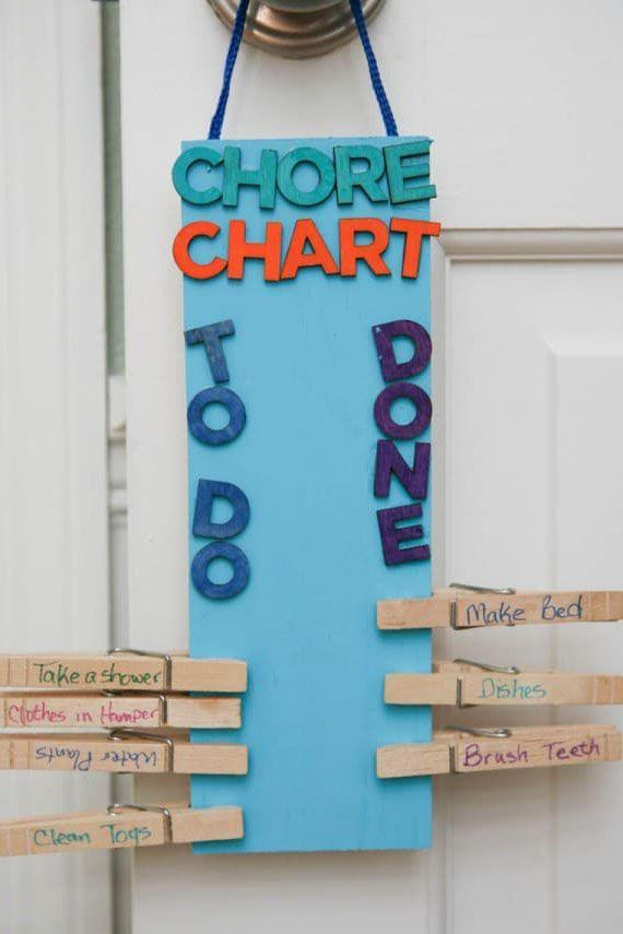 """<p>Hang this easy DIY chore chart on your child's bedroom door so that as they completes tasks, they can easily keep track of what they have left to do everyday. </p><p><a href=""""https://eclecticrecipes.com/diy-clothespin-chore-chart/"""" rel=""""nofollow noopener"""" target=""""_blank"""" data-ylk=""""slk:Get the tutorial at Eclectic Recipes."""" class=""""link rapid-noclick-resp""""><strong><em>Get the tutorial at Eclectic Recipes.</em></strong></a></p>"""