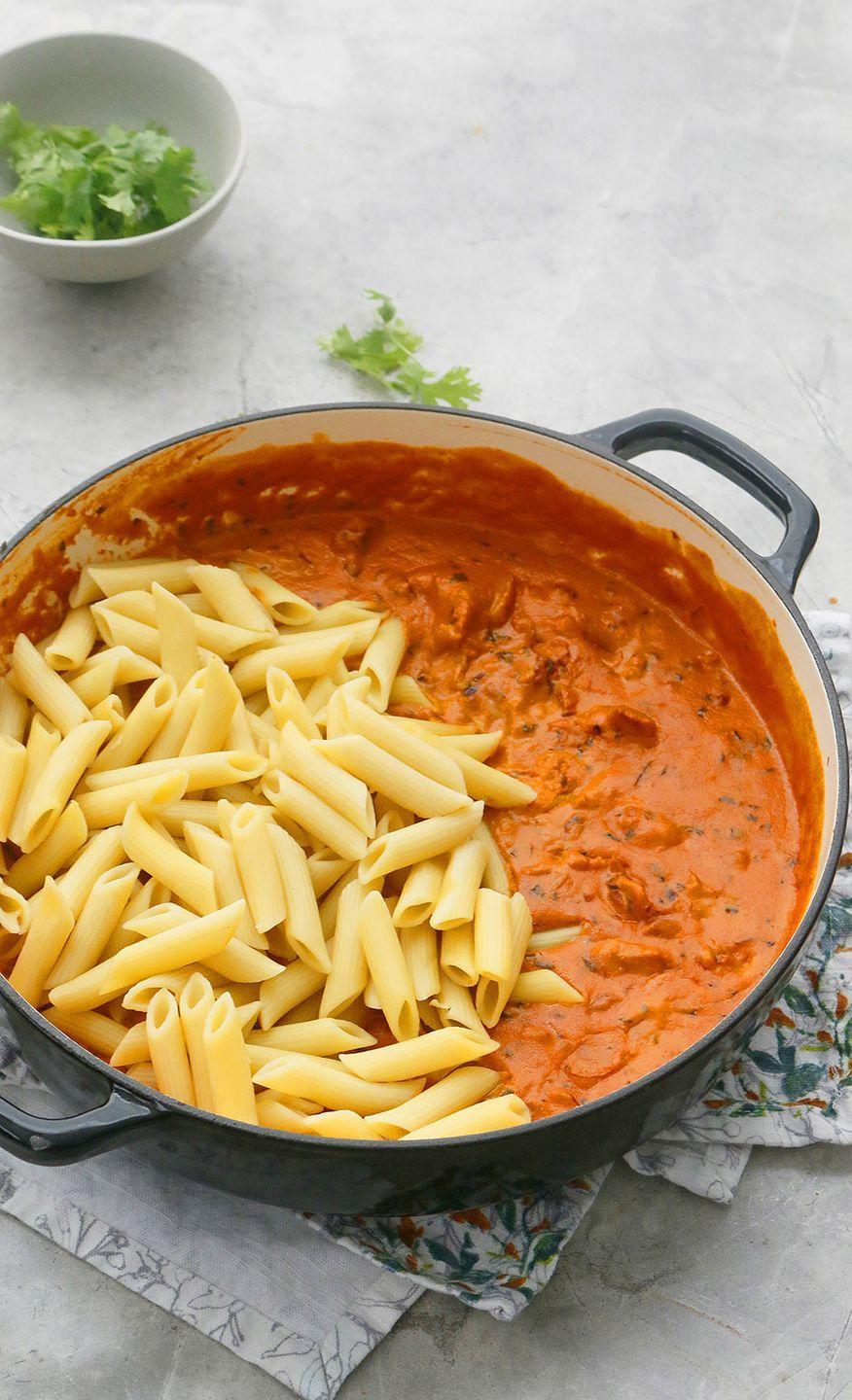 """<p>There are few things more delicious than authentic butter chicken. Follow this blogger's lead and combine the dish with pasta for a hearty meal.</p><p><strong>Get the recipe at <a href=""""https://www.kitchenathoskins.com/2020/08/18/butter-chicken-pasta/"""" rel=""""nofollow noopener"""" target=""""_blank"""" data-ylk=""""slk:Kitchen at Hoskins"""" class=""""link rapid-noclick-resp"""">Kitchen at Hoskins</a>.</strong></p>"""