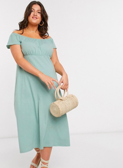 """Get <a href=""""https://www.asos.com/us/women/"""" rel=""""nofollow noopener"""" target=""""_blank"""" data-ylk=""""slk:25% off sitewide at ASOS"""" class=""""link rapid-noclick-resp"""">25% off sitewide at ASOS</a> today only using the checkout code QUICK2020. <br> <br> <strong>ASOS</strong> Off Shoulder Midi Sundress, $, available at <a href=""""https://go.skimresources.com/?id=30283X879131&url=https%3A%2F%2Fwww.asos.com%2Fus%2Fasos-curve%2Fasos-design-curve-off-shoulder-midi-sundress-with-pep-hem-in-sage%2Fprd%2F13938686"""" rel=""""nofollow noopener"""" target=""""_blank"""" data-ylk=""""slk:ASOS"""" class=""""link rapid-noclick-resp"""">ASOS</a>"""