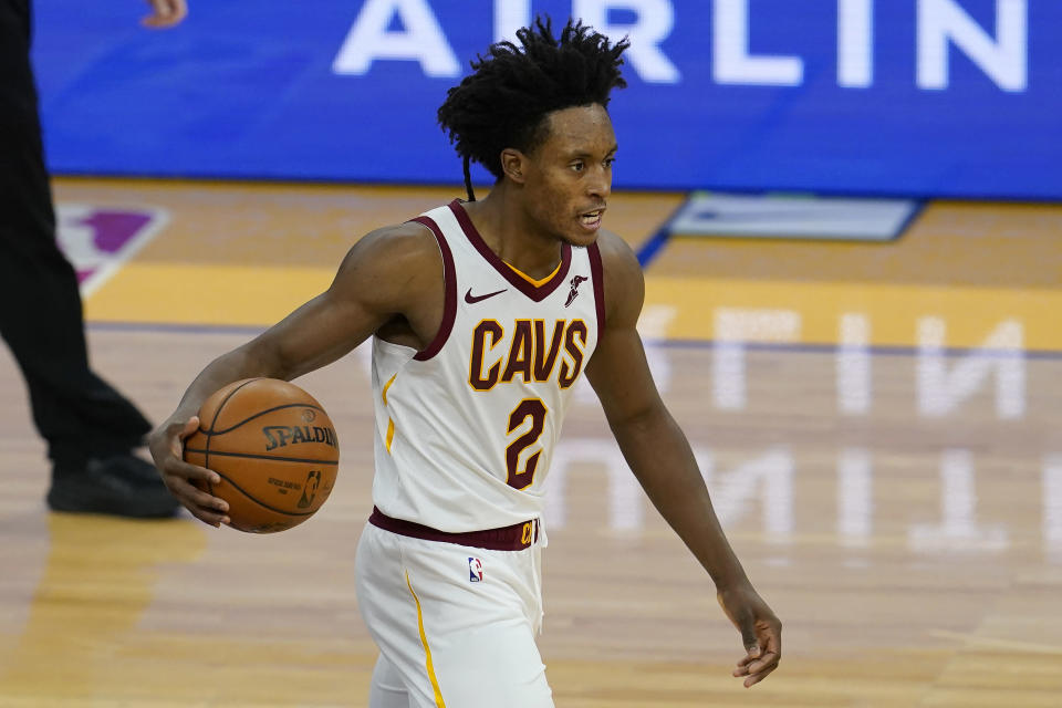 Cleveland Cavaliers guard Collin Sexton (2) dribbles the ball up the court against the Golden State Warriors during the second half of an NBA basketball game in San Francisco, Monday, Feb. 15, 2021. (AP Photo/Jeff Chiu)