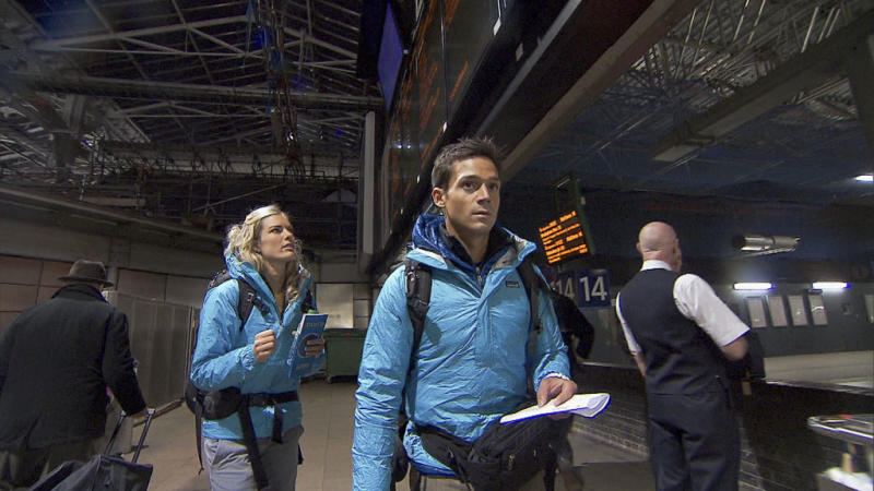 """Beacon of Hope"" -- Newlyweds Katie (left) and Max (right) make their way by train to Southern Scotland where they will board a ferry and cross the Irish Sea to Belfast, Ireland on the 22nd season finale of ""The Amazing Race."""