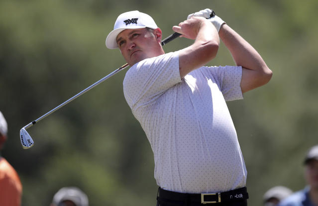 John Kokrak tees off on the second hole during the final round of the Valspar Championship golf tournament Sunday, March 24, 2019, in Palm Harbor, Fla. (AP Photo/Mike Carlson)