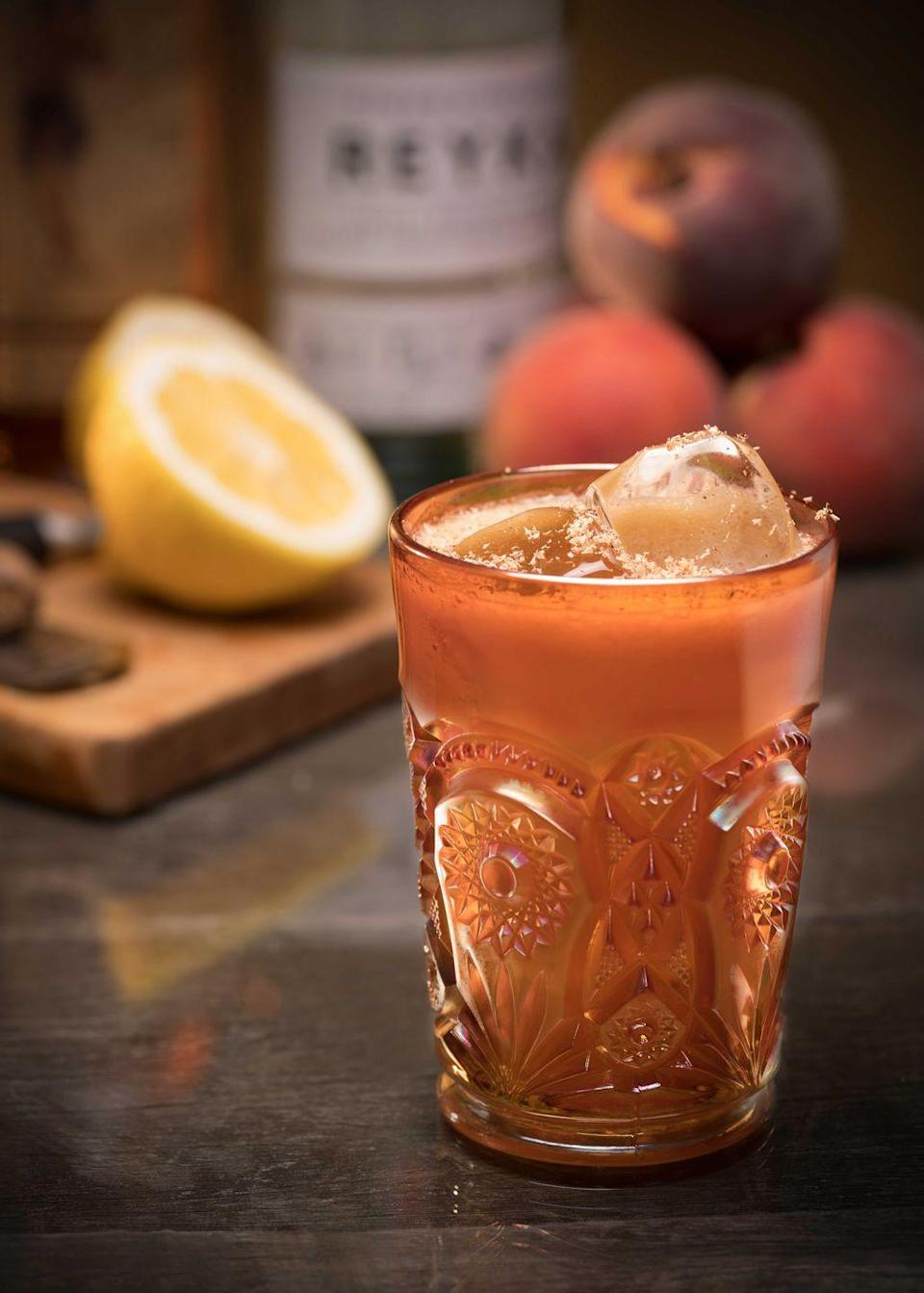 <p><strong>Ingredients</strong></p><p>1 oz Reyka vodka<br>1 oz Sailor Jerry rum<br>.5 oz lemon juice<br>.5 oz peach juice or nectar<br>Angostura bitters</p><p><strong>Instructions</strong></p><p>Combine all ingredients into cocktail shaker except bitters. Shake, double strain, and serve over crushed ice. Garnish with fresh grated nutmeg.</p>