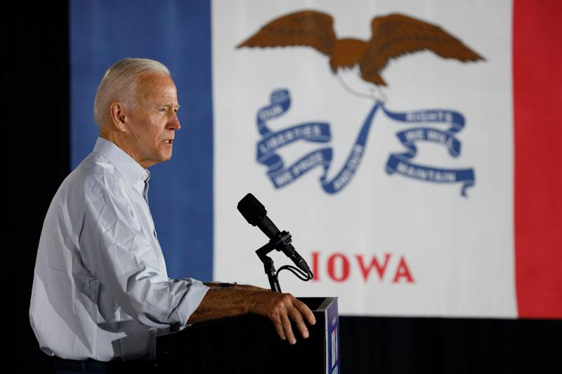 Former Vice President Joe Biden in Council Bluffs, Iowa, on July 17, 2019.