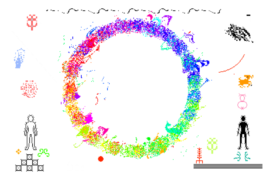 A pixel art depiction of a circle of fire engulfing a landscape.