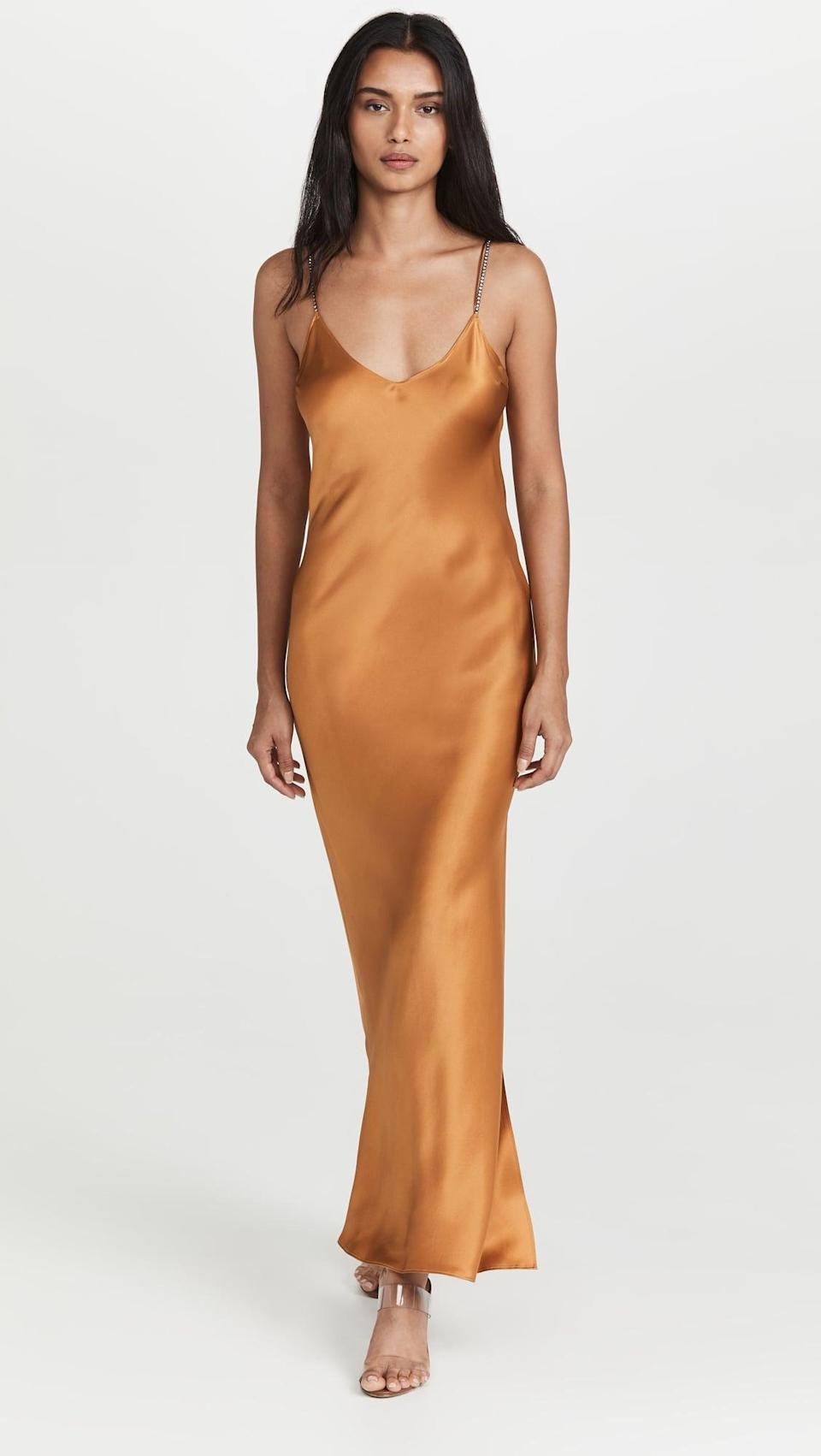 <p>This <span>Dannijo Crystal Strap Silk Slip Dress</span> ($365) is so sexy and fun. The crystal embellished straps is adorable.</p>