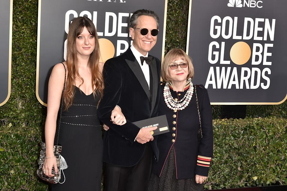 BEVERLY HILLS, CALIFORNIA - JANUARY 06: (L-R) Olivia Grant, Richard E. Grant and Joan Washington attend the 76th Annual Golden Globe Awards at The Beverly Hilton Hotel on January 06, 2019 in Beverly Hills, California. (Photo by David Crotty/Patrick McMullan via Getty Images)