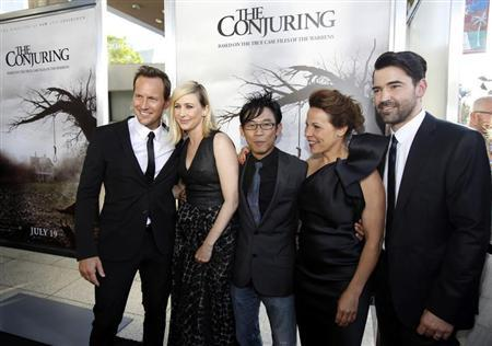 "Wan poses with cast members Wilson, Farmiga, Taylor and Livingston at the premiere of ""The Conjuring"" at the Cinerama Dome in Los Angeles"