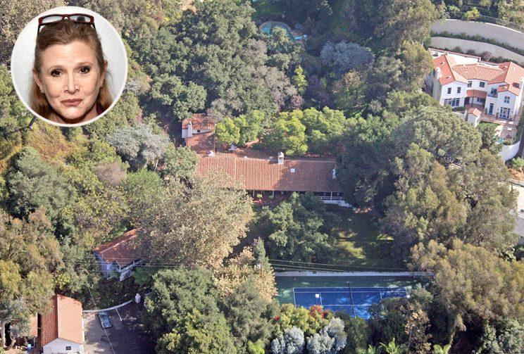 12433, BEVERLY HILLS, CALIFORNIA, November 2006, This is the home of actress Carrie Fisher which sits behind gates on a nearly 3 acre lot above the Beverly Hills Hotel. The 4,210 square foot Spanish style home has four bedrooms and four baths and was originally built in 1933 and last updated in 2002. The estate includes a swimming pool and tennis court and is currently valued at nearly $6 million.Photograph: Mike Carrillo, Celebrityhomephotos.com ***FEE MUST BE AGREED PRIOR TO USAGE*** UK OFFICE: +44 131 225 3333/3322 US OFFICE: 1 310 261 9676