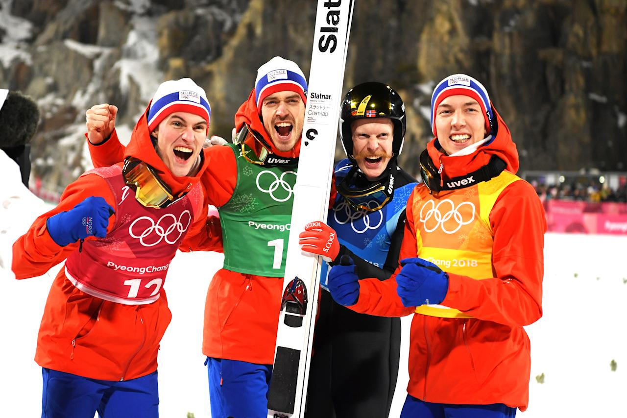 <p>Norway celebrates winning gold in Ski Jumping – Men's Team Large Hill on day 10 of the PyeongChang 2018 Winter Olympic Games, February 19, 2018.<br />(Photo by Matthias Hangst/Getty Images) </p>