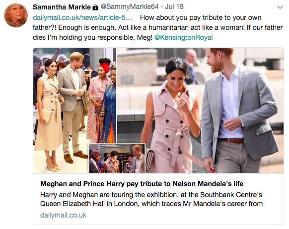Samantha Markle sent out a tweet directed at her half-sister Meghan on July 18 [Photo: Twitter]