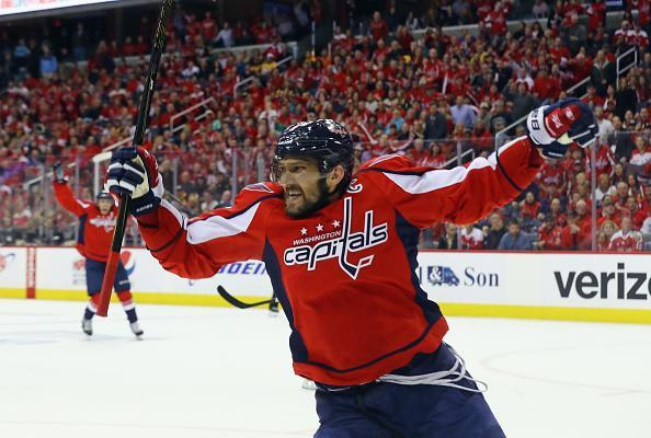 "WASHINGTON, DC – MAY 06: <a class=""link rapid-noclick-resp"" href=""/nhl/players/3637/"" data-ylk=""slk:Alex Ovechkin"">Alex Ovechkin</a> #8 of the <a class=""link rapid-noclick-resp"" href=""/nhl/teams/was/"" data-ylk=""slk:Washington Capitals"">Washington Capitals</a> scores at 7:47 of the third period against the <a class=""link rapid-noclick-resp"" href=""/nhl/teams/pit/"" data-ylk=""slk:Pittsburgh Penguins"">Pittsburgh Penguins</a> in Game Five of the Eastern Conference Second Round during the 2017 NHL Stanley Cup Playoffs at the Verizon Center on May 6, 2017 in Washington, DC. (Photo by Bruce Bennett/Getty Images)"