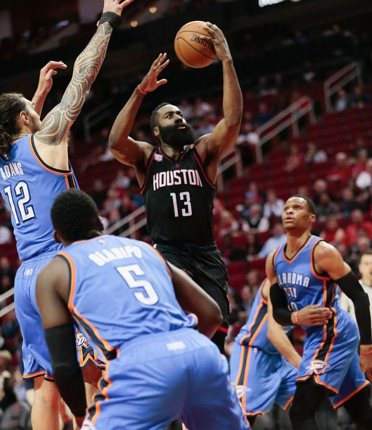 81d331bd606 James Harden rises above the Oklahoma City Thunder. (Bob Levey Getty Images)