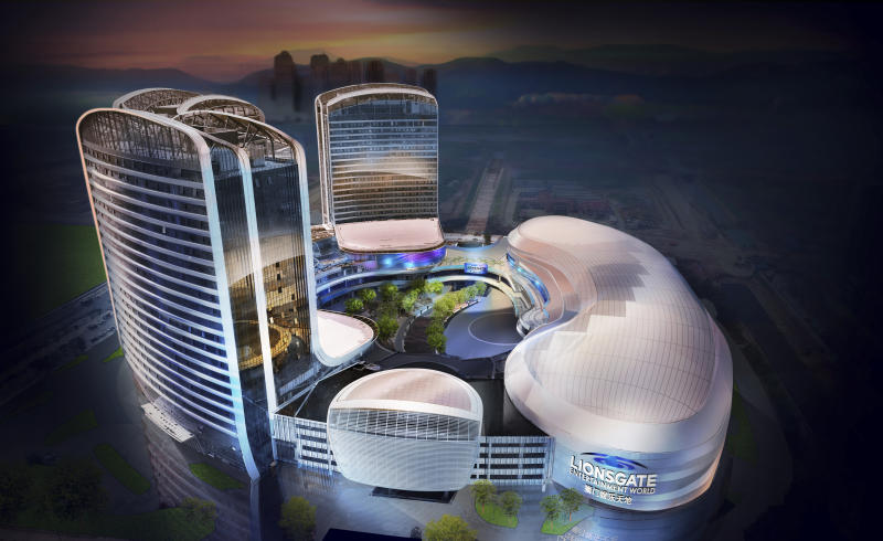 "This rendering released by Lionsgate shows the aerial view of Lionsgate Entertainment World, a virtual reality-heavy theme park set to open in July on Hengqin island in Zhuhai, China. The park will feature rides, shops and attractions set in the worlds of popular Lionsgate films including ""The Hunger Games,"" ""Twilight"" and ""Escape Room."" (Lionsgate via AP)"