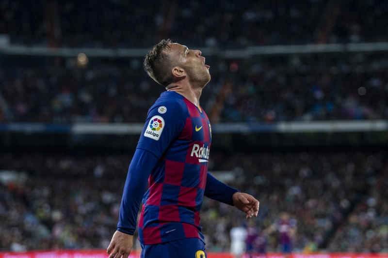 MADRID, SPAIN - MARCH 1, 2020: Arthur Melo of FC Barcelona reacts during the Spanish La Liga match round 26 between Real Madrid and FC Barcelona at Santiago Bernabeu Stadium in Madrid. Final score: Real Madrid 2-0 Barcelona.- PHOTOGRAPH BY Manu Reino / Echoes WIre/ Barcroft Studios / Future Publishing (Photo credit should read Manu Reino / Echoes Wire/Barcroft Media via Getty Images)